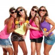 Four girls have fun at the party — Stockfoto
