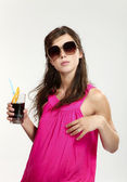 Beautiful girl with drink — Stock Photo