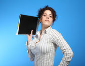 Portrait of Pretty Woman with folder — Stock Photo