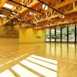 Public school, interior wide gym — Foto Stock