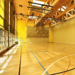 Public school, interior wide gym — Stock Photo