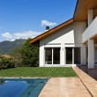 Stock Photo: Exterior house and pool