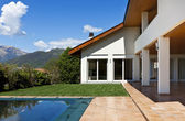 Exterior house and pool — Stock Photo