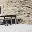 Stock Photo: Table and wooden benches