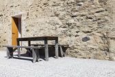 Table and wooden benches — Stock Photo