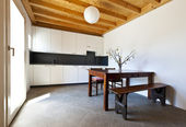 Wooden kitchen table — ストック写真