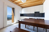 Wooden kitchen table — 图库照片