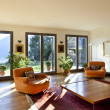 Stock Photo: Living room with orange armchairs