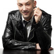 Portrait of man with black leather jacket — Stock Photo #41303637