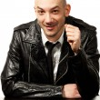 Man with black leather jacket — Stock Photo