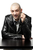Portrait of man with black leather jacket — Stockfoto