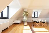 Beautiful loft, hardwood floor — Stock Photo