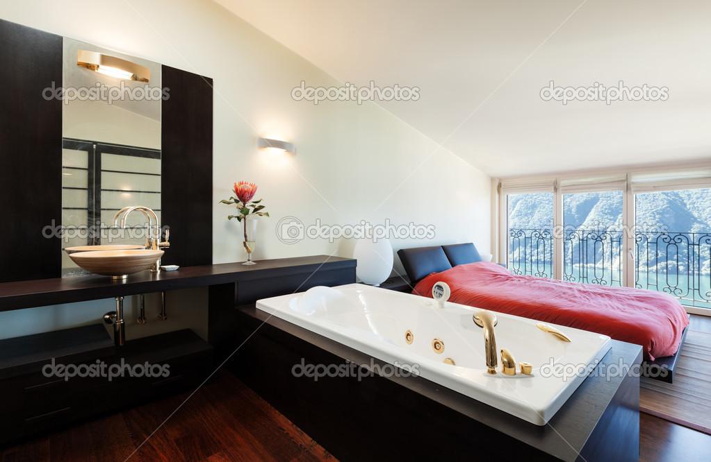 luxe appartement, slaapkamer met jacuzzi  stockfoto © zveiger, Meubels Ideeën