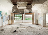 Destroyed room with two windows — Stock Photo