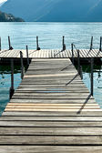 Jetty on lugano lake — 图库照片