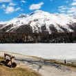 Mountain landscape, lake frozen — Stock Photo #49848863