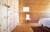 Wooden bedroom interior — ストック写真