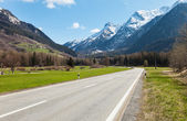 Road and mountain in Switzerland — Stock Photo