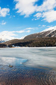 Mountain landscape, lake frozen — 图库照片