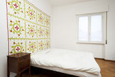 Bedroom, decorative carpet on the wall — Foto de Stock