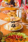 Buffet with appetizers for parties — Stock Photo