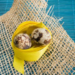 Easter background with quail eggs — Stok Fotoğraf #41150535