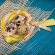 Easter background with quail eggs — Stok Fotoğraf #41150565