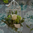Cage decorations with two white birds on top — Foto Stock #24140421