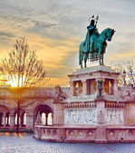 Stephen I monument at Fisherman's Bastion in Budapest, Hungary — Stock Photo