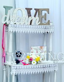Word love made of white wooden letters — Foto Stock