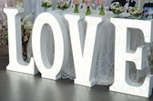 Word love made of white letters — Stok fotoğraf
