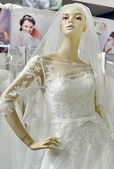Mannequin in white wedding dress — Stock Photo