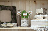 Wooden and lace  decoration for a wedding — Stock Photo