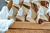 Old  wooden boxfull of presents — Stock Photo