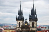 Prague view and Tyn church — Zdjęcie stockowe
