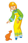 Girl with a cat in a national costume — Stock Vector