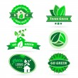 Collection of six green eco icons — Stock Vector