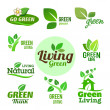 Collection of six green eco icons — Image vectorielle