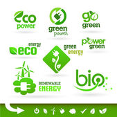 Bio - Ecology - Green - Energy icon set — Vector de stock