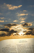 Genesis Book and Creation Sky — Stock Photo