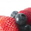 Macro Strawberry & Blueberry — Stock Photo