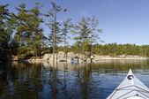Kayaking on a Calm Northern Lake — Stock Photo