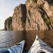 Two Kayaks Enjoy Bon Echo Cliffs — Stock Photo