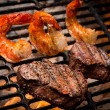 Jumbo Shrimp and Steak on a Grill - Stock Photo