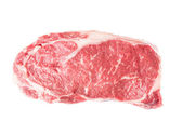 Raw Ribeye Steak on White — Stock Photo