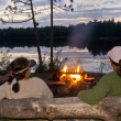 Lakeside Campfire — Stock Photo