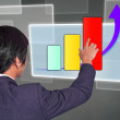 Man finger touch screen interface Graph — Stock Photo