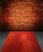 Brick wall in imagination room — Stock Photo