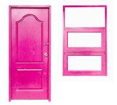 Wooden door and window on isolated — Stock Photo
