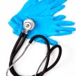 Stock Photo: Medical gloves and stethoscope